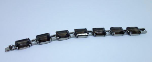 maillon bracelet argent quartz fumé