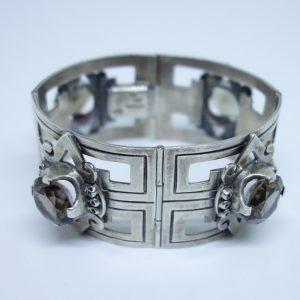 bracelet argent quartz fumé