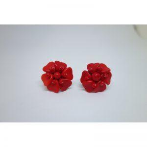 boucles d'oreilles en pâte de verre rouge