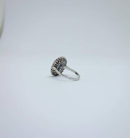 bague platine avec saphir et diamants