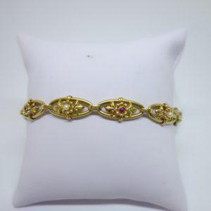 bracelet or perles et rubis