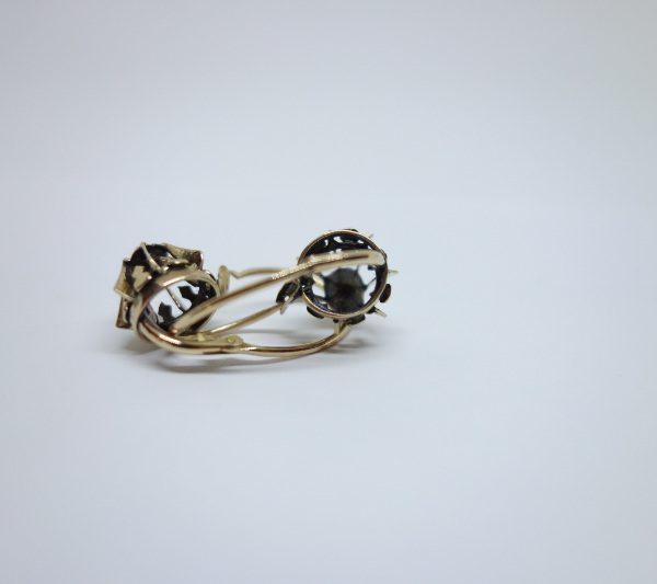 boucles d'oreilles or rose avec diamants tailles roses