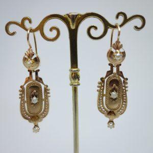 boucles d'oreilles or rose 19ième siècle