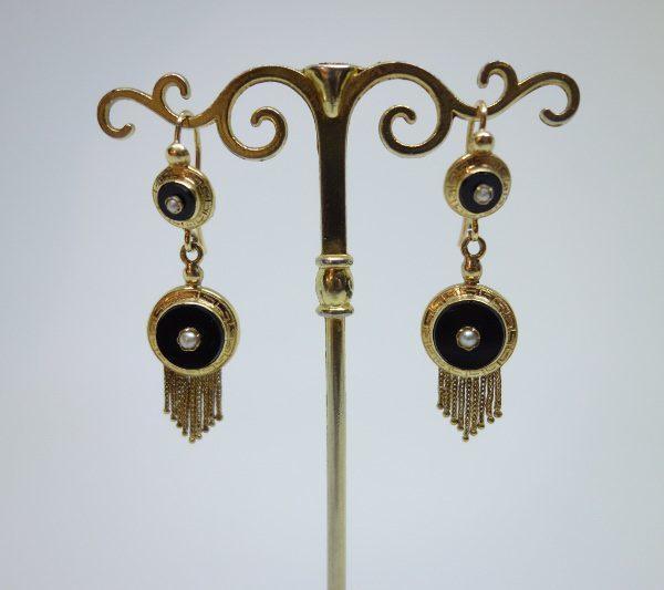 boucles d'oreilles pendantes or napoléon III