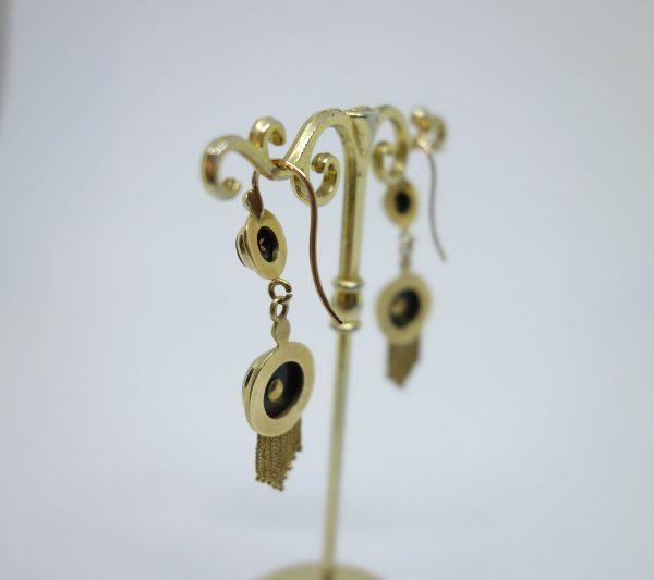 boucles d'oreilles pendantes en or avec onyx et demi-perles fines nap III