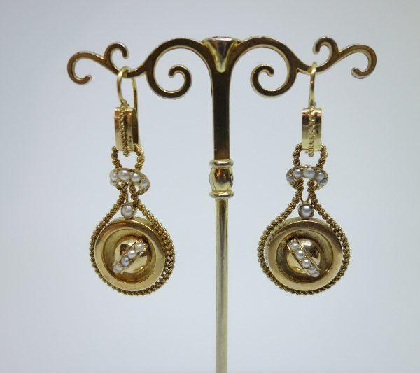 pendantes d'oreilles or 19ième siècle