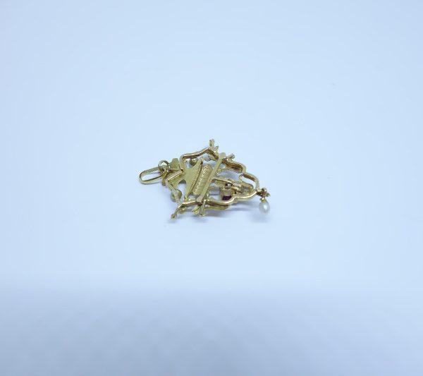 pendentif or et grenat avec perles fines