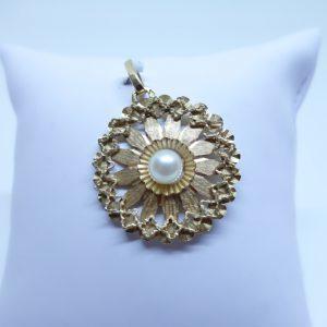 pendentif or rose et perle de culture