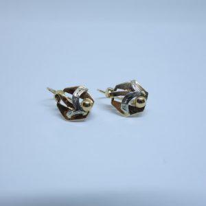 boucles d'oreille or bicolore