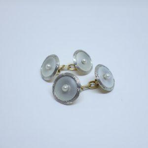 boutons de manchettes or nacre et perles