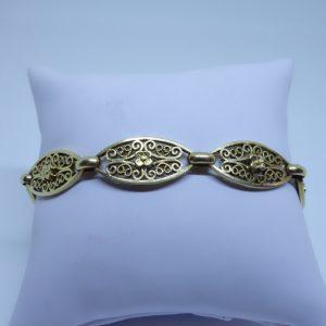 bracelet or maille olives ajourés