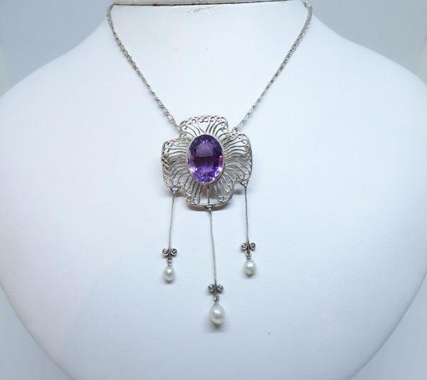 broche-collier argent avec améthyste et grosses perles fines 1880