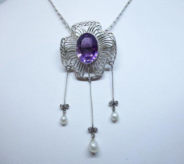 broche -collier argent améthyste et grosses perles fines 1880