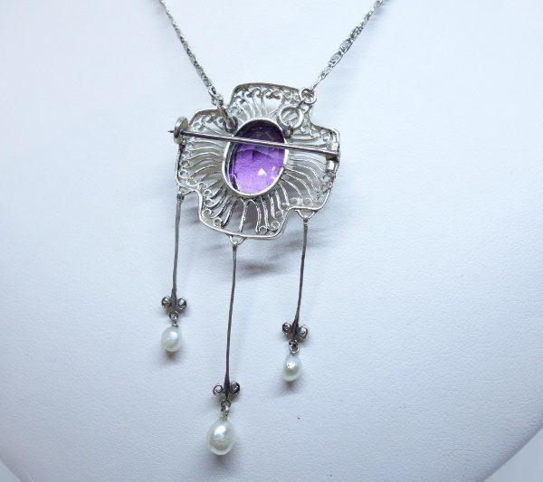 broche -collier argent améthyste et grosses perles fines 1900