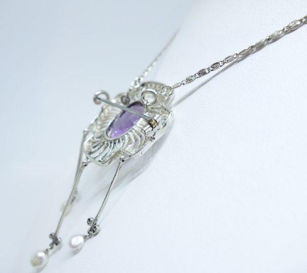 broche-collier argent améthyste et grosses perles fines 1900
