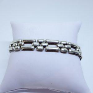 bracelet argent maille art déco