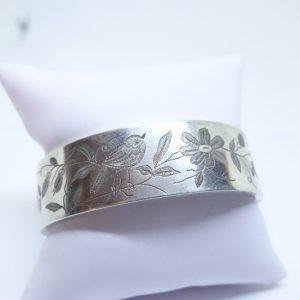 bracelet argent jonc avec oiseaux