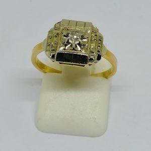 bague en or bicolore avec petit diamant vers 1925