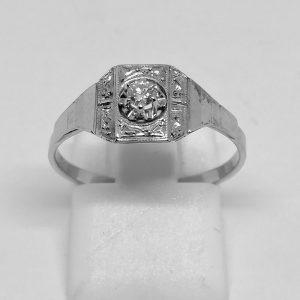 bague en or gris avec un petit diamants travail art déco vers 1930