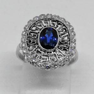 bague en platine avec saphir et diamants art déco 1930