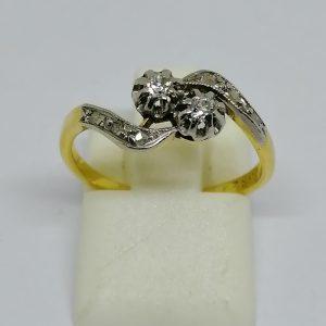 bague en or toi et moi avec diamants vers 1900