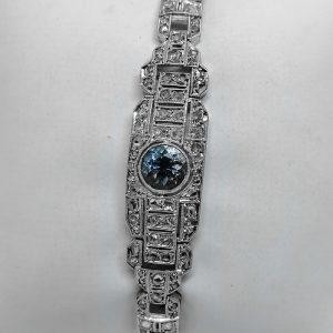 bracelet en platine avec pavage de diamants taille rose et aigue-marine art déco vers 1930