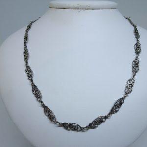 collier argent maillon fleurs art nouveau