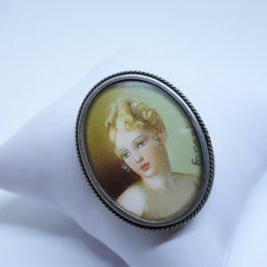 broche-pendentif argent avec miniature