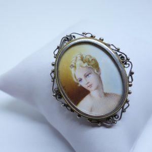 broche ou pendentif argent avec miniature