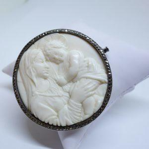 Broche argent et sculpture vierge à l'enfant