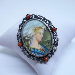 broche ou pendentif argent avec miniature italienne