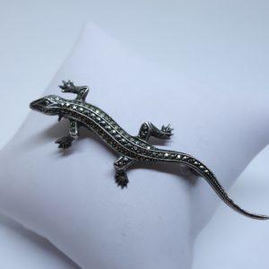 broche argent salamandre pavage marcasites