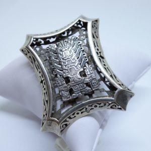 broche ou pendentif argent motifs précolombiens