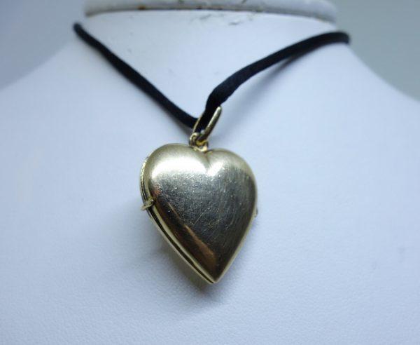 pendentif coeur ancien plaqué or porte-photo