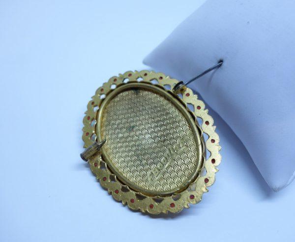 broche ancienne émaillée signé F Bouillot