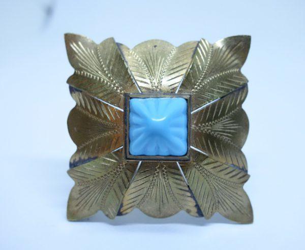 broche laiton cabochon en verre 1930-40