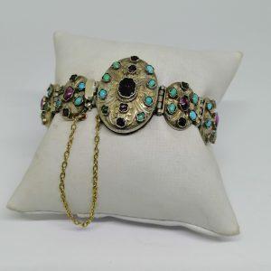Bracelet vermeil austro-hongrois avec turquoise et grenats 1870