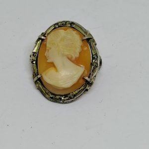 broche ou pendentif argent marcasites et camée coquillage 1930