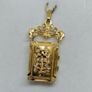 pendentif en or rosé porte-photo 1860