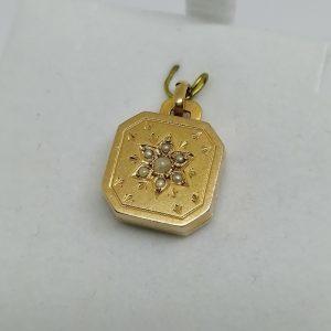 cassolette en or rosé avec sertie de demi-perles fines époque 1860