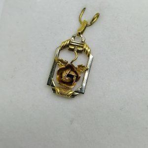 pendentif en or bicolore art déco avec motif de rose