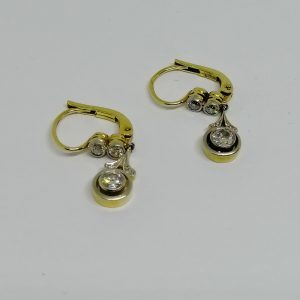 boucles d'oreilles en or et platine avec diamants art déco 1925-30