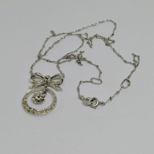 collier en or gris avec diamants époque art déco 1930