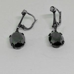 Boucles d'oreilles argent hématite art déco
