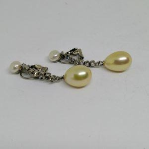 boucles d'oreilles pendantes avec strass et perles d'imitations 1900