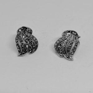 boucles d'oreilles argent et marcasites 1930