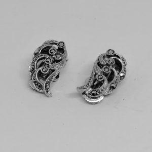 boucles d'oreilles argent et pavage de marcasites 1930-40