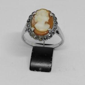 Bague argent avec camée coquillage et marcasites 1930-40