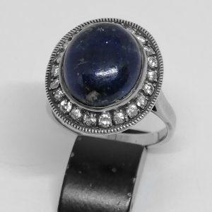 Bague argent et Lapis-Lazuli avec zirconiums 1925-30