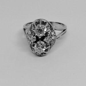 Bague or gris et diamants fin 1930